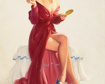 "Vintage Pinup Art Girl // ""Robed in Red"" by Gil Elvgren // 28""x36"" Printable Digital Download  // Easy to Size Down"