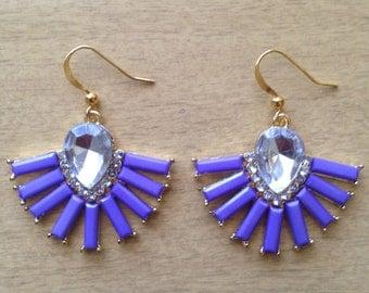 Purple & Gold Fan Earrings With Gem