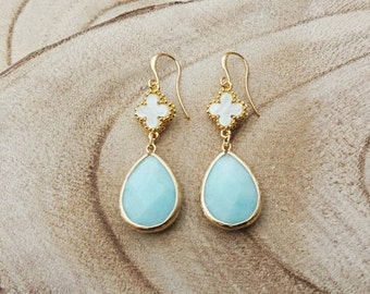 16K goldplated earrings with gemstone