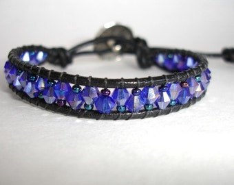 SALE - Black Leather Single Wrap Beaded Bracelet - Cobalt Crystals - Amethyst Iris Czech Glass - Button - FREE SHIPPING - Gift For Her