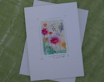 Hand-painted blank card, watercolor original, flower painting, handmade