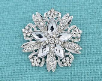 Crystal Rhinestone Brooch Silver Crystal Brooch Wedding Cake Brooch Bridal Jewelry Craft Supplies