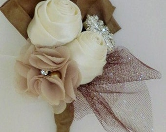 Bliss Brooch Boutonniere Ivory Beige Taupe Brown Silver Crystal Rhinestone Grooms Bout Usher Bout Corsage Prom Bout Buttonhole Wedding  Bout