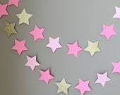 Twinkle Twinkle Little Star Garland, Baby Shower Decorations, First Birthday,Pink and Gold Decorations,Birthday,Gold Star Garland,Cake Smash