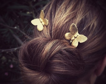 Flying Butterfly Hair Pins Gold Butterflies Bobby Pins Brass Hair Pins Butterflies Hair Clips