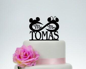 Wedding Cake Topper,Infinity Cake Topper,Disney Cake Topper,Custom Cake Topper,Mr and Mrs Topper,Mickey Minnie Topper C067