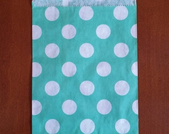 """10 Medium size Teal and White large polka dot Candy bags, measuring 5 1/8"""" x 6 3/8"""""""