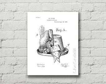 Steampunk Hat print, printable patent, Steampunk art print, Steampunk Hat poster, Closet decor