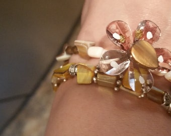 Flower Earth Tone Natural Stone 2 Piece Stretch Bracelet