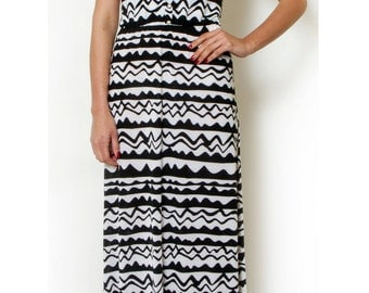 Black and white Printed Maxi casual day Dress Long Summer Straps Dress