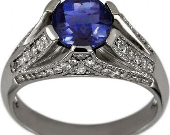 Tanzanite Rings Tanzanite Engagement Ring Vintage Diamond Ring 14K White Gold
