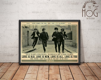 Beatles Poster - Quote Retro Music Poster - Music Print, Wall Art