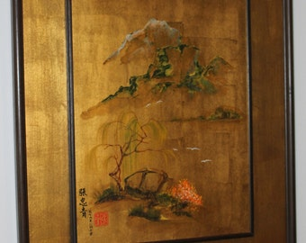 S A L E: Vintage Asian Gold Hand Painted Artwork