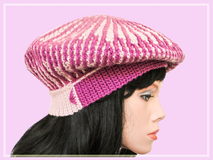 Crochet Beanie Pattern Striped : Striped crochet slouchy beret pattern Crochet hat patterns