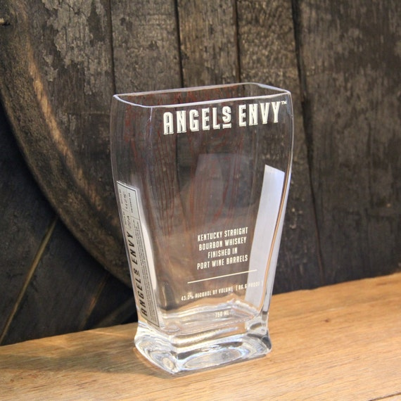 Empty Angels Envy Bourbon Whiskey Bottle Cut and Sanded Bottle Recycled Candle Jar Whiskey Candle Glass Container Vase Lamp Craft Supplies