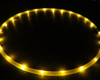 Yellow LED hoop, rechargeable hoop, travel hoop, collapsible hoop, dance hoop, Moons Of Noor