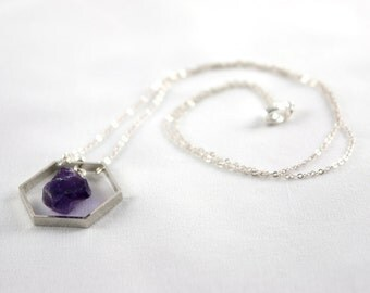 Hexagon Necklace, Silver Tone with Amethyst