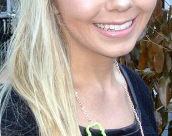 Lime Green Quatrefoil Necklace