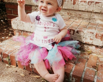 First Birthday-Tutu-Personalized Shirt-Baby Headband-Birthday Outfit