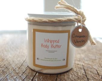 Handmade Cinnamon-Vanilla Whipped Body Butter, 8 oz. Plastic Jar, Whipped Body Lotion, Body Cream, All Natural
