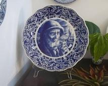 "Delft Charger Delfts Blauw Schotel ""Fishman & Pipe"" Schaal Large Wall Plaque Art Nautical Plate Dish Platter Boch Freres Keramis Belgium"