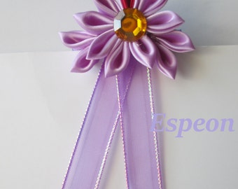Espeon Inspired Kanzashi Flower, Handmade Japanese Fabric Flower Hair Clip, Lavender, and Red Hair Jewelry, Pokemon Inspired