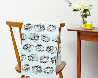 Shy Hedgehog Tea Towel in Mint Green- Country kitchen accessory, perfect homeware gift for animal lovers.