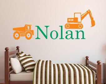 Personalized Name Wall Decal - Truck Wall Decal - Boys Room Wall Art - Kids Toodler Wall Decal - Nursery Wall Decal - Kids Room Vinyl Decal
