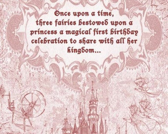 Sleeping Beauty Double Sided Invitation with Envelopes
