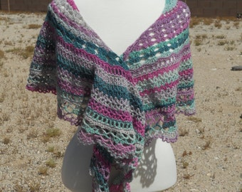 Pink, Purple, Green and Pale Grey Wool Crescent-Shaped Crocheted Shawl
