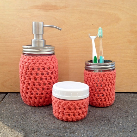 Items Similar To Many Colors Mason Jar Bathroom Set Raspberry Red Coral Yellow Soap