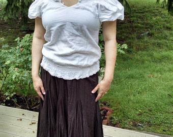White Cotton Peasant Shirt