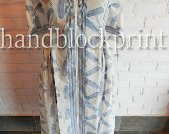 Women Free Size White Cotton Long Kaftan,Bohemian Kaftan,Beach Kaftan,Summer Kaftan,Hand Block Print Kaftan,Wedding Dress,Maxi Dress,Abaya