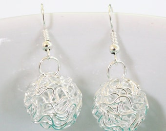 Silver Ball Drop Earrings