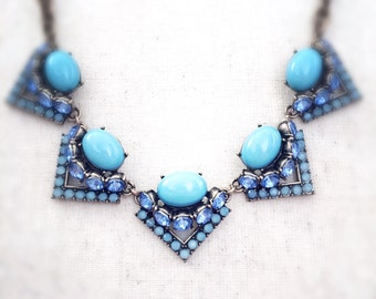 Turquoise necklace, turquoise statement necklace, blue necklace, statement necklace, jewelry, Stella and Dot inspired, summer necklace