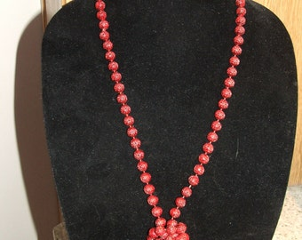 """NECKLACE Red Round Beads GEOMETRIC Design, Double/Single Strand, Vintage 23"""" Length (#536)"""