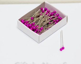 Fuchsia pearl 144pc corsage pins hot pink boutonniere 2 inch long magenta bouquet jewels bulk pack millinery or floral pin prom weddings