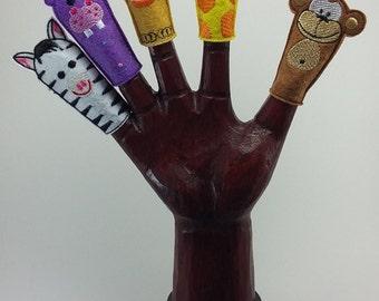 Marionetas de Dedo Animales de África: Mono, Jirafa, León, Hipopótamo, Cebra. // Felt Finger Puppets Lion, Giraffe, Monkey  Pack 5 Títeres