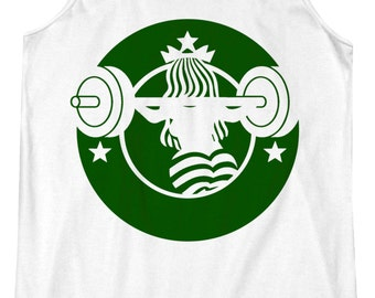 Barbucks 2.0 - Starbucks Strong, Workout Tank, Coffee, Crossfit, Carbs, Racerback Fitness Tanktop, Yoga, Top, Gym, Barre, Pilates, Beachbody