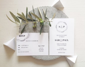 Botanical Wreath Invitation and RSVP set