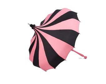 Coral Pink & Black Bella Umbrella Pagoda Umbrella - Rain or Shine Parasol
