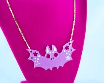 Creepy Cute Little Baby Bat Laser Cut Necklace - Kawaiicore Kawaii Bat Acrylic Jewelry