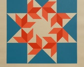 Barn Quilt / Silkscreen Print                                                                               HEXAFOOS Flying Sparrows (Blue)