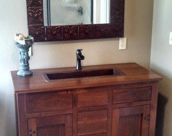 Wood Vanity Made From Reclaimed Material Optional Hand Hammered Copper Sink