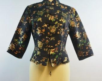 Fredericks of Hollywood Embossed Mandarin Jacket | Vintage Asian Embroidered Cropped Jacket