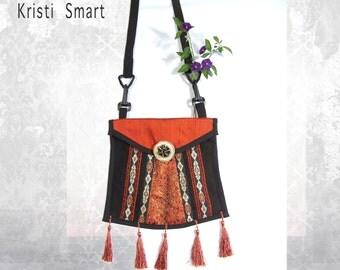 Black and orange opera purse festival pouch