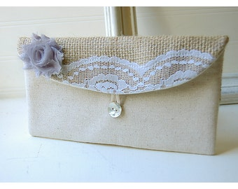 grey bridesmaid clutch green blue black gold gray clutch burlap purse wedding rustic shabby rose flower Personalize Bridesmaid gift MakeUp
