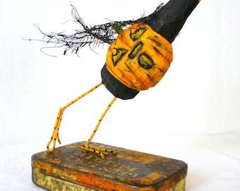 Pumpkin, Crow, Vintage Tin ~ Jack-Crow-Lantern