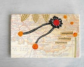 Small Paper Collage / Mixed Media Art Map Collage France 2 / Eco Friendly Original Art by Luluanne
