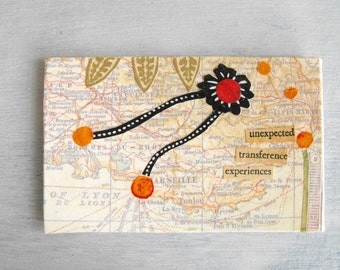 Small Paper Collage with Text - Mixed Media Art Collage - Map Collage - France 2 - Eco Friendly Original Collage Art by Luluanne